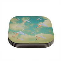 "Natt ""Swan"" Teal Yellow Coasters (Set of 4)"
