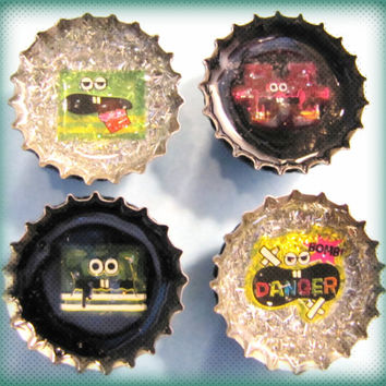 Upcycled Bottle Cap Magnets Resin Handmade Kawaii Puzzle Danger! Black Silver Recycled Reclaimed Repurposed Eco Friendly Ceramic Magnet