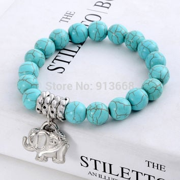 New Design Fashion Vintage Bohemia National style Turquoise Beaded Tibetan Silver Elephant charm Stretch bracelet jewelry women