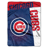 Chicago Cubs MLB Royal Plush Raschel Blanket (Strike Series) (60x80)