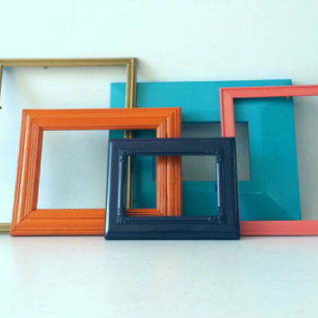 Modern Art Picture Frames Lot Vintage Coral Orange Aqua Turquoise Purple Wood French Country Hanging Wall Wedding Decor Set Collage Photos