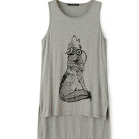 Wolf Print Long Tank With Diamante