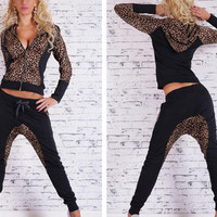 Leopard Print Spliced Hooded Sports Jacket  And Drawstring Pants