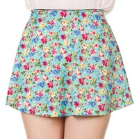 Flower Print Skater Skirt - Mint