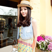 Paris dream summer Titian 87,082,012 new Korean women\'s retro wild frilly denim vest  t4X