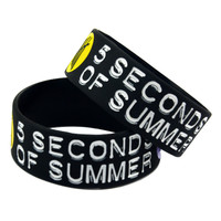 "1PC 5SOS 1"" Wide Silicone Wristband Bracelet For Music Fans Adult Size"