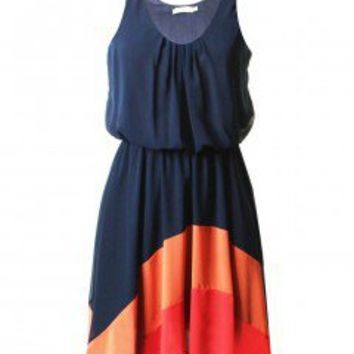 LOVE Navy Chiffon Rainbow Hem Dress - Love