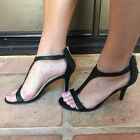Black Tully T Strap Open Toe Heels - BLACK