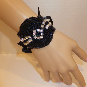 Art Deco Bridal Bracelet, KRISTY, Black Bridal Bracelet, Crystal Bracelet, Wedding Bracelet, Cuff Bracelet