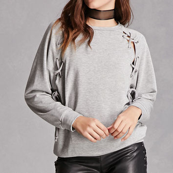 Lace-Up Raglan Sweatshirt