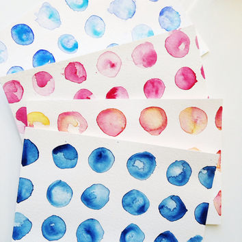 hand painted watercolor cards / Pack