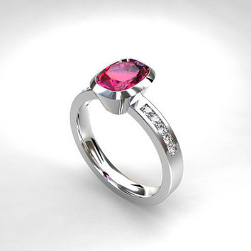 Cushion cut Pink tourmaline ring, engagement ring, diamond engagement, pink, tourmaline, bezel, solitaire, unique, rose gold, white, yellow