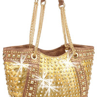 * Rhinestone and Stud Accented Metallic Fashion Tote In Gold