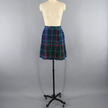 Vintage Plaid Kilt / Kilted Mini Skirt / Blue Tartan / 1980s Mini-skirt / Highland Scotland Scottish / Size Small S