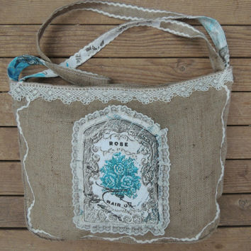 Shabby Chic Burlap Bag  Vintage Crochet Bag Aplique Handmade Hobo Bag , Rustic Wedding,Ruffled Bag Large Tote Bag 2 Side Appliqued Bag