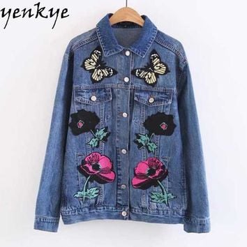 Women Butterfly Floral Patch Designs Blue Denim Jacket Turn-down Collar Long Sleeve Single-breasted Autumn Outerwear
