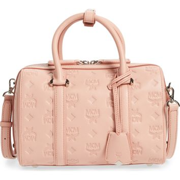 MCM Small Boston Monogram Leather Satchel | Nordstrom