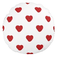 Crochet Yarn Hearts Handmade Crafts Pattern Round Pillow
