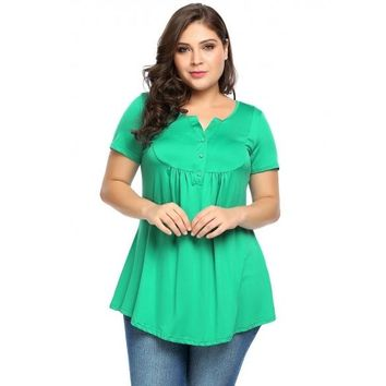 Plus Size Notched Collar Short Sleeve Pleated Tops