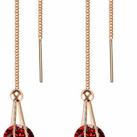 Beautiful Round Red Cubic Zircon Threaded Dangle Earrings Gold Tone
