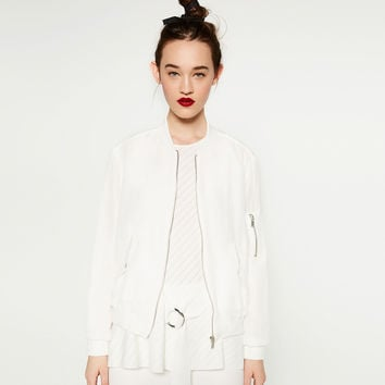 FLOWING ZIPPED BOMBER JACKET - BOMBERS-WOMAN | ZARA United Kingdom