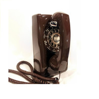 WORKING- Brown Rotary Wall Phone