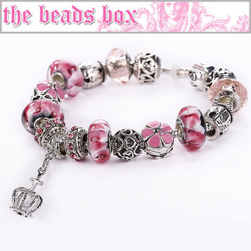 AA-31 Pink Zircon Charm Bracelet 925 Sterling Silver Murano Glass & Crystal Beads + Free Shipping