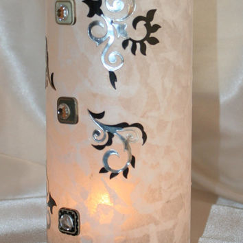 Tall Heavy Bottom Glass Decoupaged Cylinder Vase Black and Silver Applique Rhinestone Embellished Artificial Flower Candle Tea Light Holder