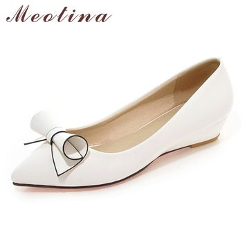 Meotina Shoes Women Bow Low Heels Ladies Wedge Heels  Bridal Shoes Patent Leather Footwear White Red Plus Size 9 10 40 42 43