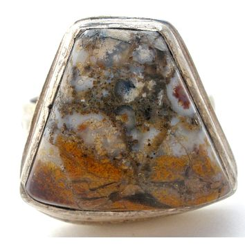 Vintage Moss Agate Ring Size 9
