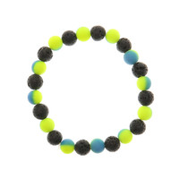 Black, Yellow & Blue Lava Rock Stretch Bracelet
