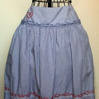 Ruffly, Striped Apron With Heart Embroidery - Upcycle - Petite to Plus Size