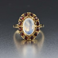 Garnet Halo Vintage Moonstone Ring