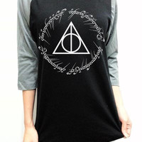The Lord of the Rings Shirt Clothing Harry Potter Deathly Hallows The Rings T-Shirt Unisex Raglan Black 3/4 Baseball Shirt Long Sleeve