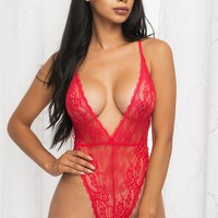 Caramel Lace Teddy - Red