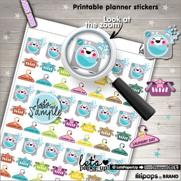 Printable Planner Stickers, Erin Condren, Kawaii Stickers, Laundry Stickers, Basket Stickers, Hanger, Planner Accessories, Cute Stickers