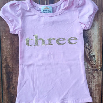 BIRTHDAY Toddler girls pink and white lettering, Number 3, three year old, birthday party, shirt, photo, pictures, outfit, three, five, chic