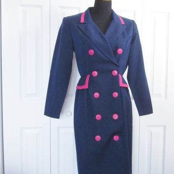 Vintage 80s Double Breasted Wrap Dress Navy and Fuchsia Button Front Dress Womens Diversity Military Style Hot Pink Trim Made in USA