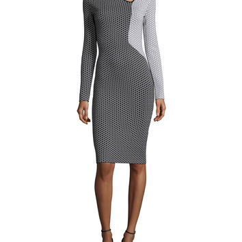 Nassau Long-Sleeve Fitted Dress, Black/White, Size: