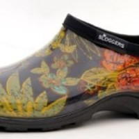 """Sloggers  Women's Rain and Garden Shoe with """"All-Day-Comfort"""" Insole, Midsummer Black Print - Wo's size 9 - Style 5102BK09"""