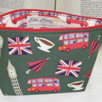 Small Wide Zipper Pouch, Handmade with Dear Stella London Calling in Green and Bus Lining, Perfect for cosmetics, knitting, toiletries