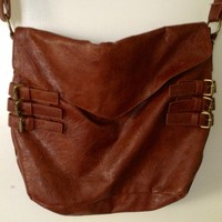 Side Buckled Leather Cross Bag