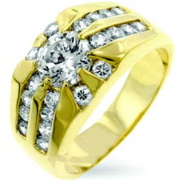 1 Carat Lab Grown Diamond Moissanit 14K Yellow Gold Accents Wide Engagement Ring Band