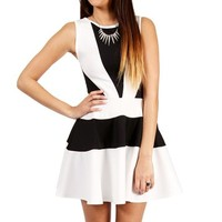 Black/White Colorblock Scuba Dress