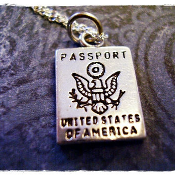 Silver USA Passport Necklace - Sterling Silver USA Passport Charm on a Delicate 18 Inch Sterling Silver Cable Chain