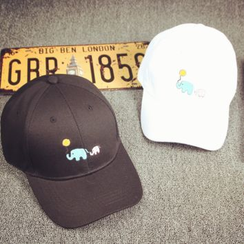 Embroidered Elephant Baseball cotton cap Hat