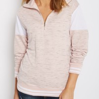 Pink Color Blocked Quarter Zip Sweatshirt | Sweatshirts | rue21