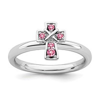 Sterling Silver Stackable Expressions Pink Tourmaline Cross Ring