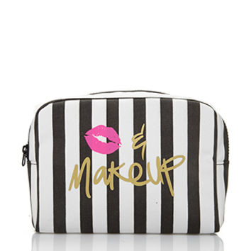 FOREVER 21 Kiss & Makeup Cosmetic Bag Black/Cream One