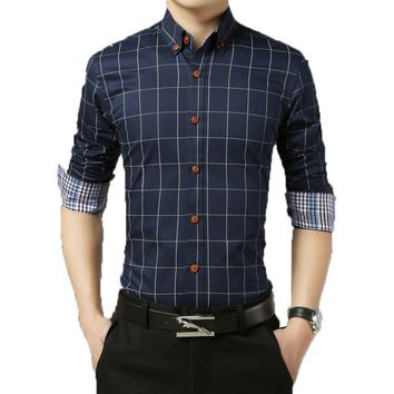 2018 Long Sleeve Plaid Dress Shirts